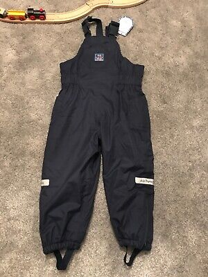 NEW Jojo Maman Bebe Waterproof Fleece Lined Dungarees 3-4yrs BNWT Navy Warm Rain