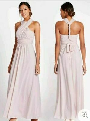 Marks & Spencer Blush Pale Pink Bridesmaid Multiway Party Prom Maxi Dress Uk 8