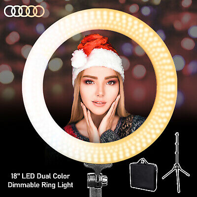 18'' LED Ring Light w/ Stand 5600K Dimmable Lighting Kit for Makeup Broadcasting