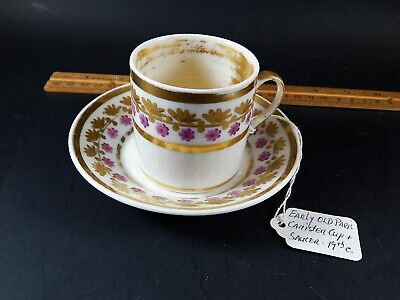 Early Antique 19th Century French Old Paris Cannister Cup and Saucer