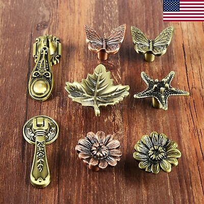 Antique Butterfly Leaf Furniture Pull Cabinet Knob Drawer Closet Door Handles US