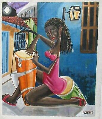 R.varona Haitian Woman Playing Drums Original Oil On Canvas Painting