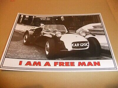 PATRICK McGOOHAN THE PRISONER LOTUS SEVEN 7 FALL OUT POSTCARD BUCKINGHAM PLACE