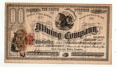 1868 South Overman Mining Company Stock Certificate