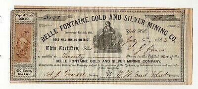 1863 Belle Fontaine Gold & Silver Mining Company Stock Certificate