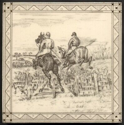 TH3047 Minton Hunting Horse Racing Transfer Printed Tile W. P. Simpson c.1885