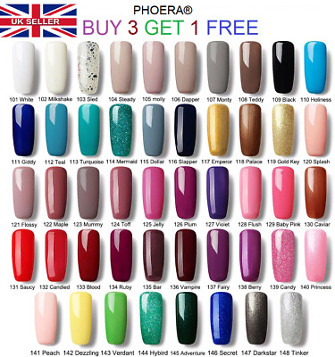 Phoera Gel Nail Polish Soak Off Uv Led Color Manicure Art Base Top Temperd Coat