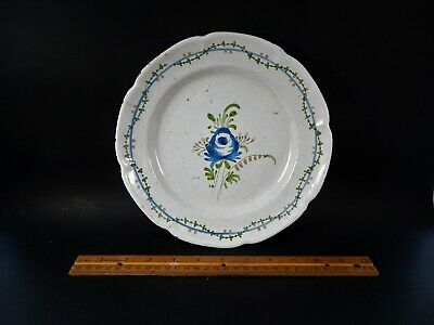 Antique French Tin Glazed Faience Flower Plate  Unmarked 18th / 19th Century 9""