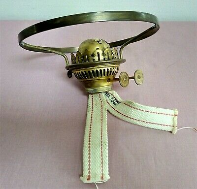 "Vintage Duplex Brass Oil Lamp Double Burner with 7.5"" Tripod Shade Support."