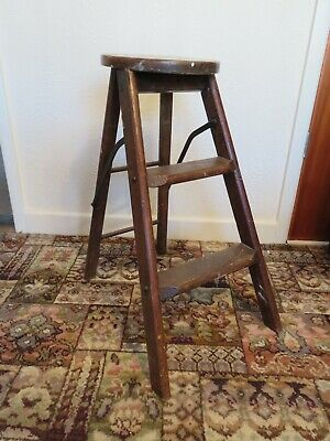 Antique Vintage Folding Steps Stool Beautifully Aged Painters Early 20th Century