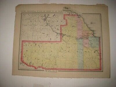 Vintage Antique 1873 Marquette Delta County Michigan Handcolored Map Superb Nr