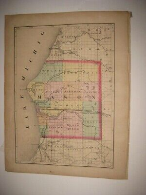 Vintage Antique 1873 Mason Wexford County Michigan Handcolored Map Railroad Rare