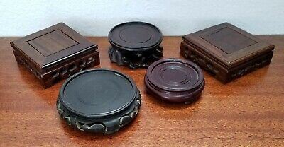 Antique Vintage Chinese Wood Stand Lot of 5, Various sizes.