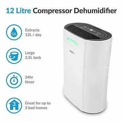 12L Dehumidifier Air Purifier amazing up to 3 bed houses Humidistat 5-35 degre