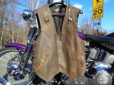 Harley Davidson Heritage Leather Vest Large Brown
