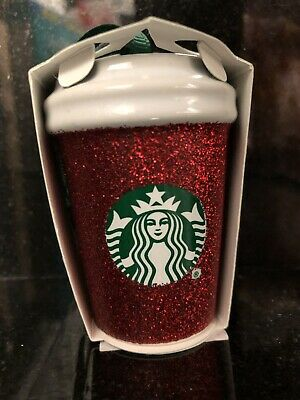 Starbucks 2019 RED GLITTER Cup Holiday Christmas Tree Ceramic Ornament BRAND NEW