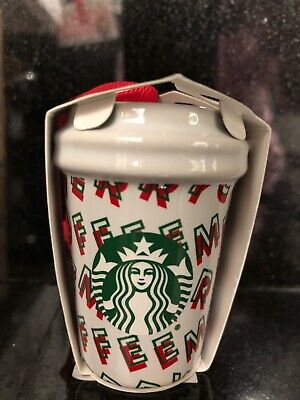 Starbucks 2019 Holiday MERRY COFFEE Mini Cup Christmas Tree Ornament Brand New