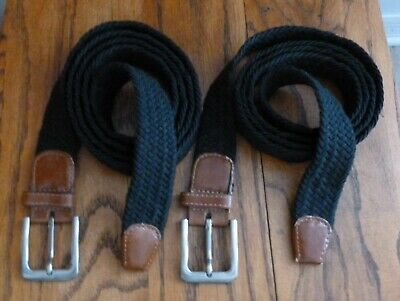 """7001G Men's 1.25"""" Fabric w Leather Ends Elastic Woven Stretch BELT Black 2X 3X"""