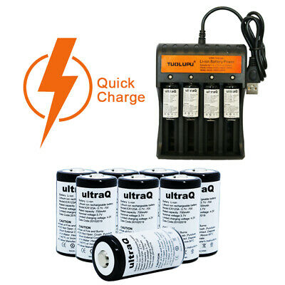 UltraQ 12 Pack CR123A 3.7V Rechargeable Batteries with Charger for Arlo Camera