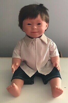 Down Syndrome Baby Doll ~ Brown Hair Boy 40cm ~ Anatomically Correct