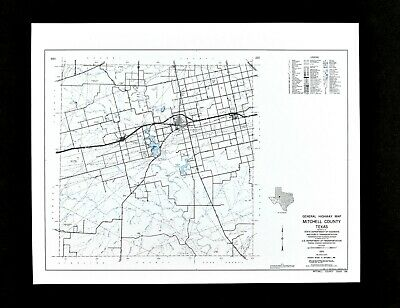 Texas Map Mitchell County Colorado City Loraine Ranches Oil Fields Lakes Roads