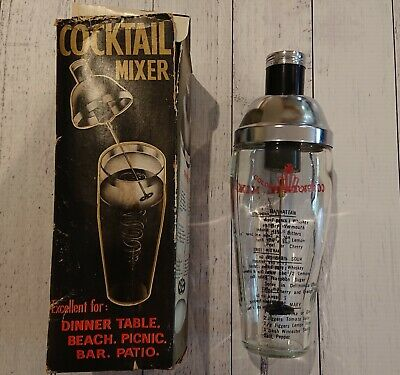 Retro Golden Crown Glass & S/Steel Cocktail Mixer Shaker Battery Power Works