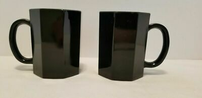 2 Vintage Arcopal France Novoctime Black Glass Geometric Octagon Coffee Mugs