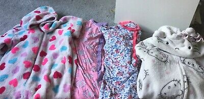4 X Girls All In One Sleepsuits  Age 9
