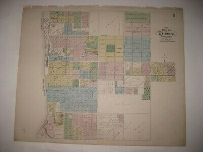 Antique 1872 Quincy Adams County Illinois Handcolored Map Fine Superb Detailed