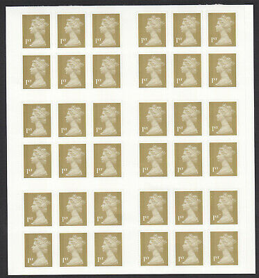 Uncut Sheet Of 3 X 12 1St Class Gold Self Adhesive Booklet Stamps Ex Doug Myall