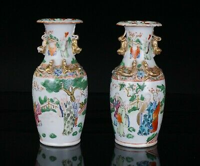 PAIR Antique Chinese Famille Rose Porcelain Monk Vase with Chilong Dragons c1850