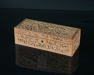 SET Antique Chinese Canton Sandalwood Carved Jewellery Box & Inner Tray 19th C