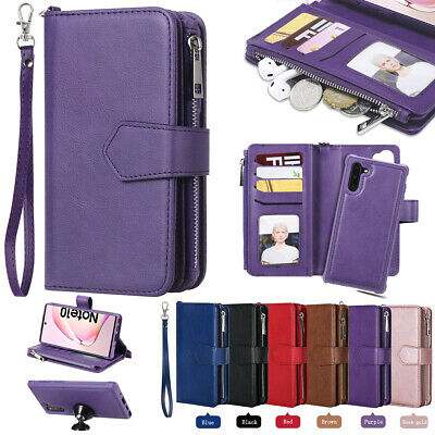 For Samsung S8 S9 Plus Note 10 9 8 Removable Leather Zipper Wallet Case Purse