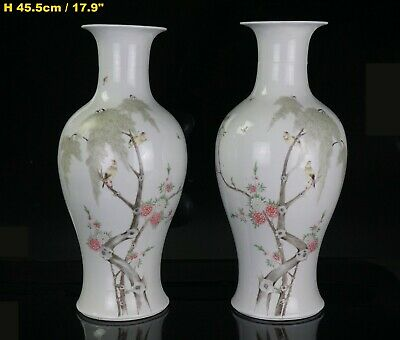 LARGE Pair Antique Chinese Famille Rose Porcelain Baluster Vases 19th C QING