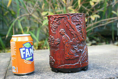 Chinese Wooden Bamboo Hand Carved Picture Large Brush Holder
