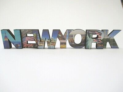 New York Wooden Magnet Uppercase Letters,5 7/8in,Souvenir USA, of Liberty