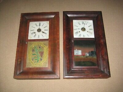 Two Antique E.N Welch Ogee Weight Driven Mahogany Wall Clocks U.S.A