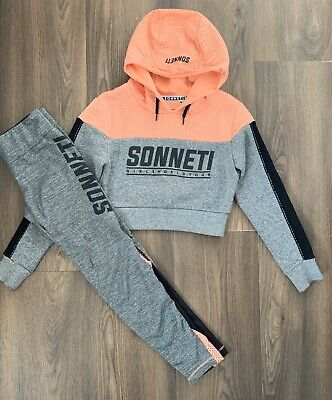 SONNETI Girls Sport Bundle Age 9-10 Leggings Cropped Hoody Jumper Tracksuit