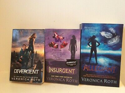 Divergent Book Set - Series Of Three Novels By Veronica Roth Insurgent Allegiant