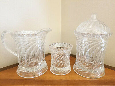 1904 Antique EAPG Bryce Brothers Swirl & Disc Glass Sugar Creamer More Estate