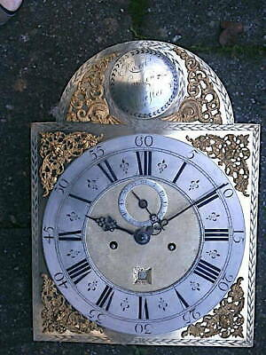 C1720 8 day LONGCASE GRANDFATHER CLOCK DIAL+movement 12x16+1/2 inch     '