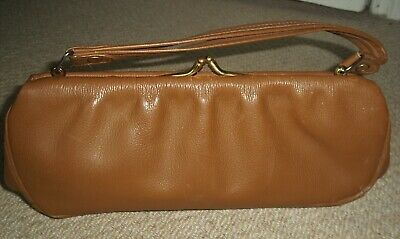 STUNNING VINTAGE 1950's SMALL TAN FAUX LEATHER HANDBAG/CLASP BAG