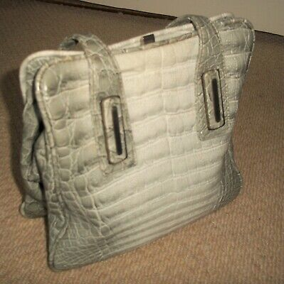 STUNNING VINTAGE 1960's GREY MOCK CROC FAUX LEATHER HANDBAG/CLASP BAG