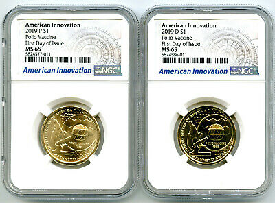 2019 P /& D Pennsylvania Polio Innovation Dollar 2 Set $1 NGC MS 66 First Release