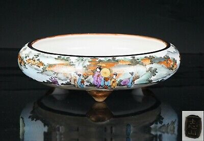Lg FINE QUALITY Japanese Satsuma Porcelain Censer Brush Washer Pot 19th C Meiji