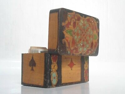 Charming Antique Arts & Crafts Art Nouveau Playing Cards Wooden Box Carved Case