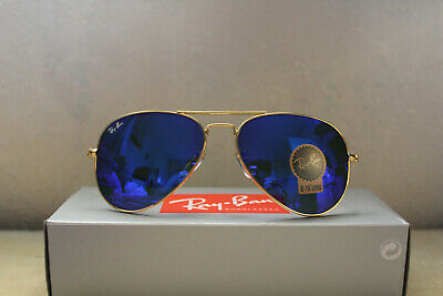 Ray Ban Aviator Sunglass Blue Mirror Gold Frame and Receipt (RRP £180+)