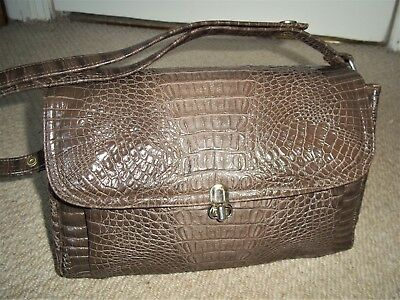 STUNNING VINTAGE 1960's TAUPE MOCK CROC EMBOSSED FAUX LEATHER SHOULDER BAG