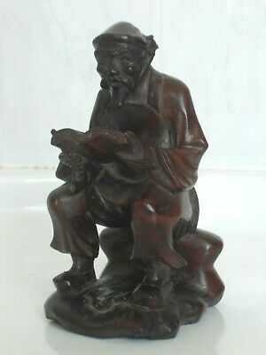 Old Vintage Chinese Fine Hand Carved Rosewood Boxwood Folk Carving Wood Peasant