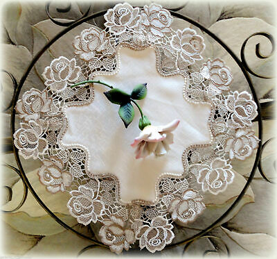 Doily Roses Jubilee 16 inch Lace Rose Flower Neutral Tones